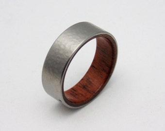 Hammered Titanium and wood ring with Koa