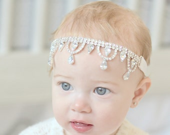 Baby Headband Beaded Headband Rhinestone Headband Crystal Headband Baby Girl Headband Flower Girl Headband Jewelled Headband