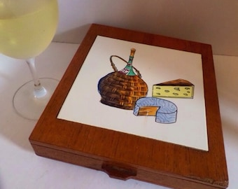 Vintage Cutting Board With Drawer Cheese Charcuterie Board with Accessories