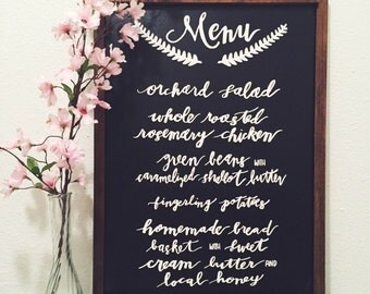 Custom Wedding Menu Board