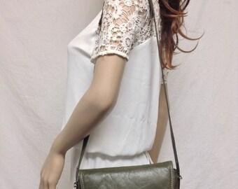 Free Ship, leather,Saddle bag,Green, Leather Purse,bags purses, Shoulder Bag