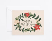 Christmas Card Set   Hand Lettered Holiday Card Set, Illustrated Christmas Cards with Holiday Wreath