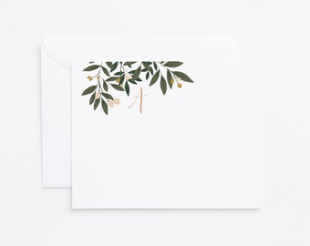 Monogram Flat Card Set of 12 | Personalized Stationery, Floral Stationery Notecards : Orchard Collection