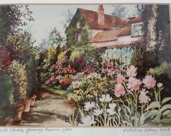 Vintage Patricia Akay SWA Monet's Studio Giverny France Watercolor LE Signed Litho