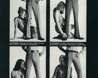 1970 Broomsticks Men's Slacks vintage magazine ad, print, ephemera, decor, to frame