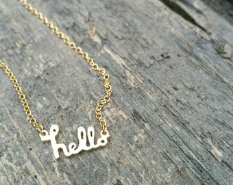 Adorable little hello Gold Necklace