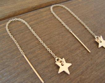 Gold-Filled Star Threader Earrings - Gold-Filled Star Threaders - Handmade Jewelry - Bridesmaid Earrings - Minimalist Jewelry - Star Earring