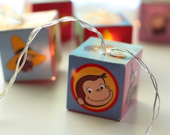 Curious George string of lights LED lit lanterns fairy lights for bedroom or nursery