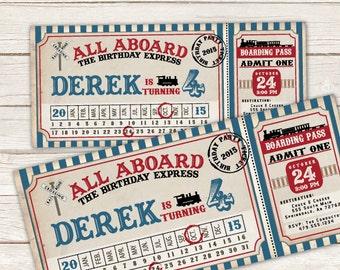 Train Ticket Invitation Train Birthday Invitation Train