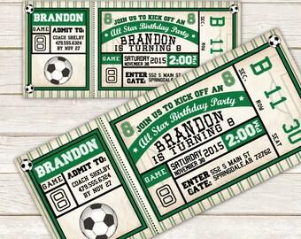 Soccer Invitation - Soccer Birthday Invitation - Soccer ticket invitation -  DIY Printable or Printed Invitation