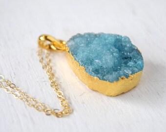 Light Blue Teardrop Druzy in Gold, Sky Blue Druzy Pendant, Teardrop Druzy Necklace