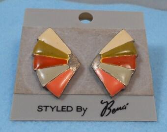 Enameled Fan Earrings