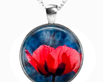 POPPY - Glass Picture Pendant on Chain - Silver Plated (Art Print Photo AC2)