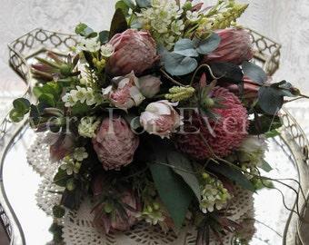 Victoria, Soft Pink Natives Silk Wedding Bridal Bouquet