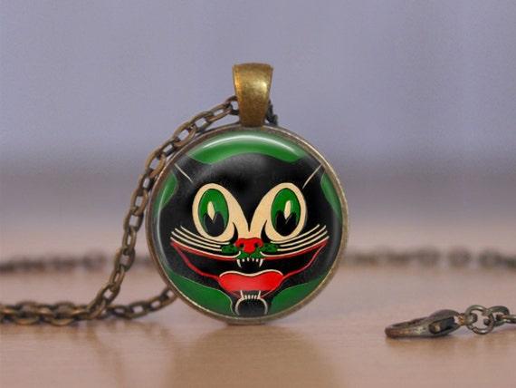 Retro Smiling Black Cat Halloween Pendant