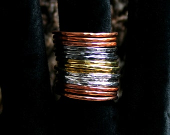 Mixed Metals stack rings. Hammered skinny stacking rings. Copper/Brass/Bronze/Sterling silver. Sets of 5/10/15. UP to a US 7 3/4 ~ UK P 1/2