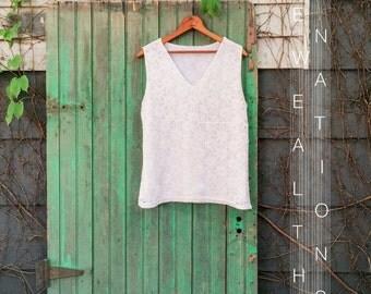Minimal White Lace Sleeveless Top