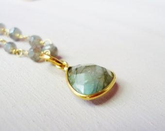 Gold Labradorite Gemstone Necklace//Beaded Labradorite Necklace//Labradorite Pendant Necklace//Gold and Labradorite Necklace