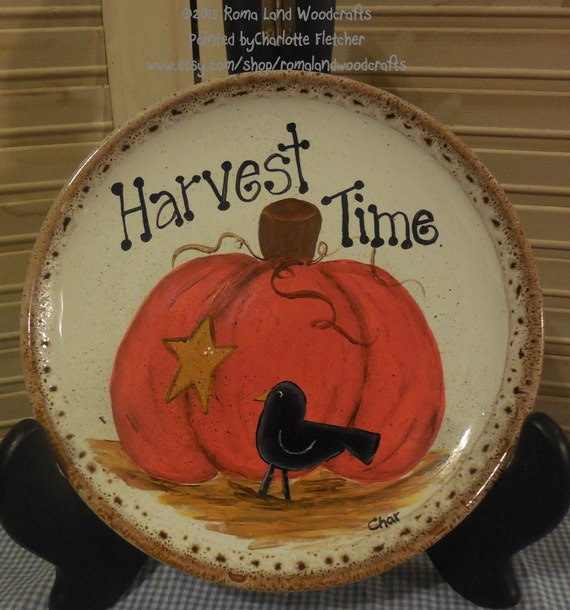 Hand painted Plate, Harvest Time,Pumpkin, Star, Crow, Hostess Gift, Fall, Thanksgiving, Halloween Decorations, Harvest, Autumn, Gift, fun