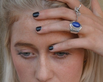 GOT style - Lapis Lazuli Ring - natural stone - boho ring - blue stone ring - silver ring - sterling silver rings