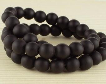 8 mm Black matte onyx • Black matte beads • Black onyx beads • Natural onyx beads • Gemstone beads • Matte black onyx beads•Rounds onyx bead