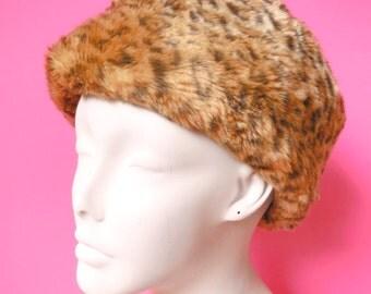 vintage faux fur leopard print hat