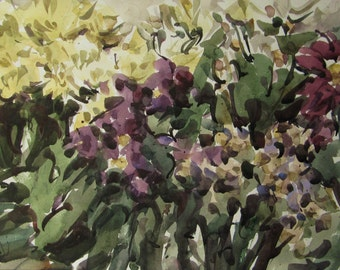 Autumn flowers 2  - original watercolor