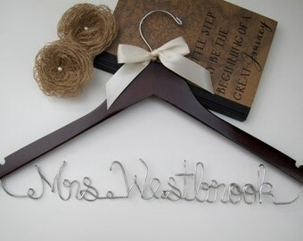 SALE Personalized Bridal Hanger / Wedding Hanger / Custom Hanger / Bridesmaid Gift / Bridal Shower Gift / Groomsmen / pick your ribbon