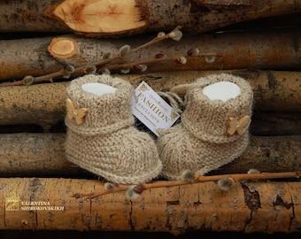 Newborn booties Natural organic wool booties Hand Knitted Baby Booties. Wool Baby Booties. Gray baby booties.