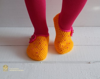 Hand knit socks/slippers, Knitted Wool Socks, knitted slippers socks, socks for home, socks for sleep. Kid's Slippers. Comfortable Shoes