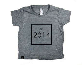 Custom Birth Year Tee - Established In - Baby and Toddler - Gray
