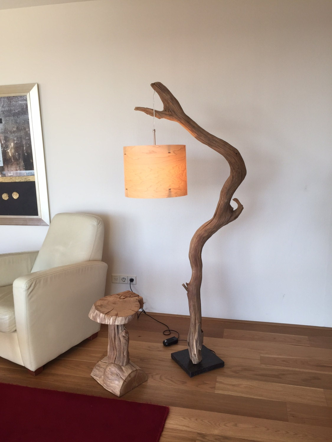 floor lamp and arc lamp made of weathered old oak branch on. Black Bedroom Furniture Sets. Home Design Ideas