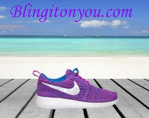 Just in limited quantities available womens Nike bling flyknit fun swarovski nike bling shoes limited quantity fuchsia  royal blue