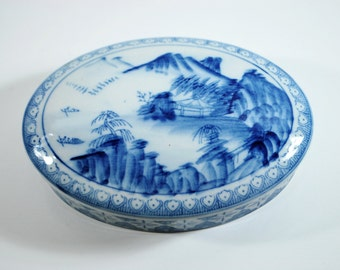 Vintage Blue and White Porcelain Chinese Lidded Oval Trinket Box Chinoiserie Chic