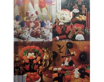 Holiday Table Accessories, Halloween Goody Bags, Ornaments, Birthday Clown, Centerpieces, Crafts Sewing Pattern Uncut McCall's 3367