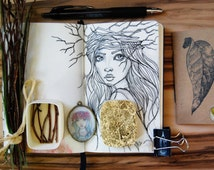 """Gift set pendant with print """" Boho Girl """" 