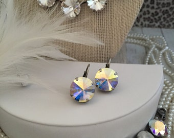 14mm Single stone Lever back Swarovski Crystal Earrings in Crystal AB. Designer Inspired, trendy, Iridescent earrings. High Impact.