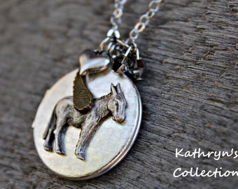 Donkey Angel Locket, Donkey Necklace, Donkey Jewelry, Burro Neckalce