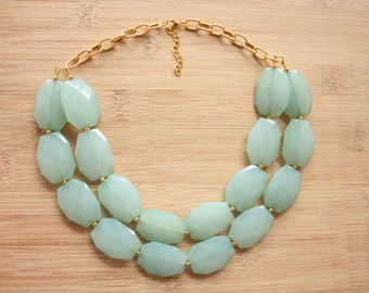 Sea Foam Green Statement Necklace- Mint Statement Necklace-Bib Necklace-Gold Statement Necklace- Green Necklace