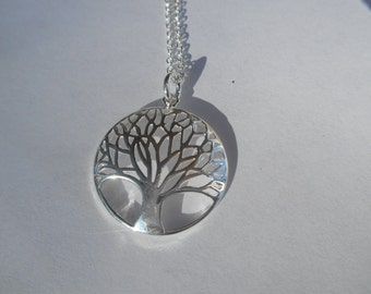 Sterling Silver Tree Of Life Without Roots Pendant Necklace|Judaica|Silver Tree Necklace|Round Tree No Roots Pendant|Yggdrasil Tree Jewelry