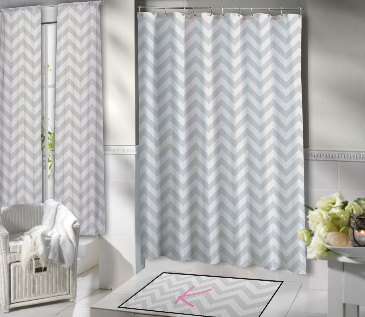 Chevron Shower Curtain Extra Long Shower Curtain Gray