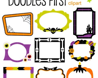 Halloween Frames Digital Clip Art for Scrapbooking Card Making Cupcake Toppers Paper Crafts