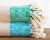 Herringbone Cotton Throw, Turkish Towel, Beach Blanket, Bedspread, Seat Cover, Sea-foam, Turquoise