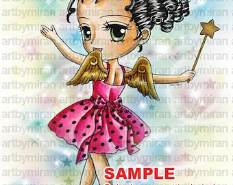 Digital Stamp-Wishing Stella(#70), Digi Stamp, Coloring page, Printable Line art for Card and Craft Supply