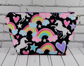 Glitter Unicorn Make Up Bag, Rainbow Unicorns Zip Pouch.