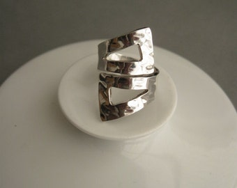 Massive vintage modernist sterling silver ring.