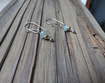 Cloudy Aquamarine Earrings with Swarorski Crystal and Sterling Drops