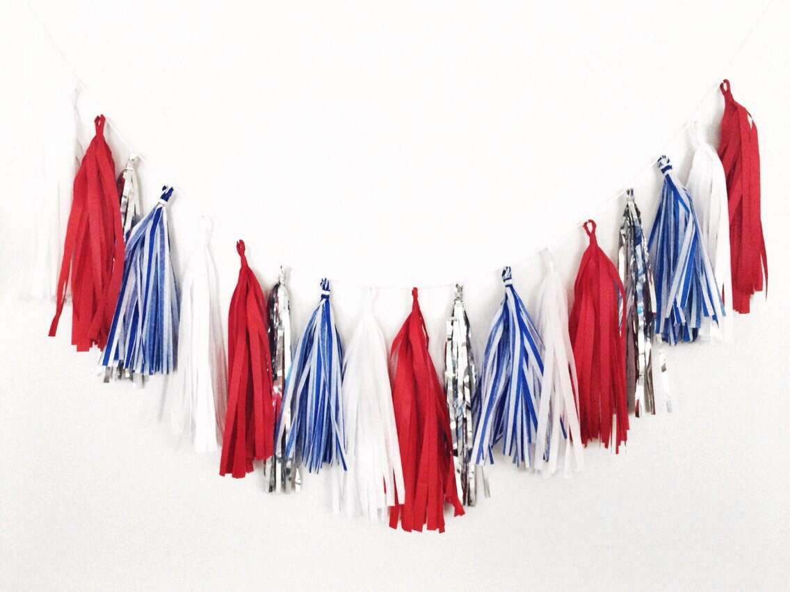 Red white and blue tassel garland 4th of july by blushbazaar - Red white blue decorations ...