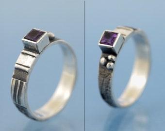 Amethyst mosaic ring 925 sterling silver