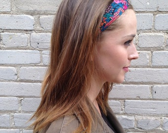 Liberty of London Print Floral Headband in Bright Pink Blue Orange Dark